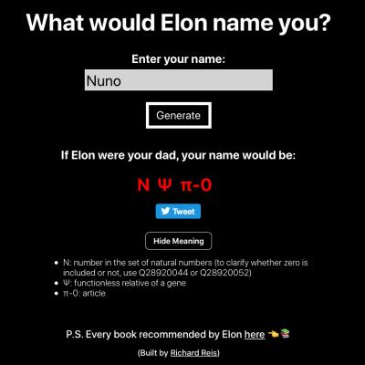 Qual seria o teu nome, segundo Elon Musk?